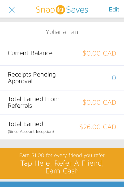 I Hit $26 cash back yesterday and cash it out too. Let's see how long it will take for the cheque to arrive!